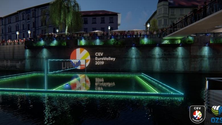 Уникално! Словения промотира европейското с волейбол на река (видео)