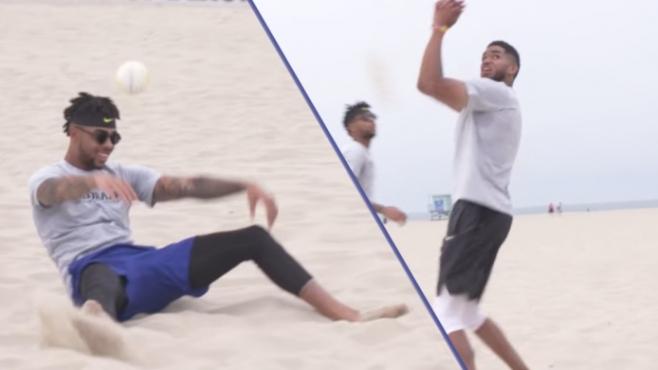 Звезди от НБА се пробват в плажния волейбол (Видео)